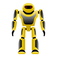 Robot. Black Yellow Color. Vec...