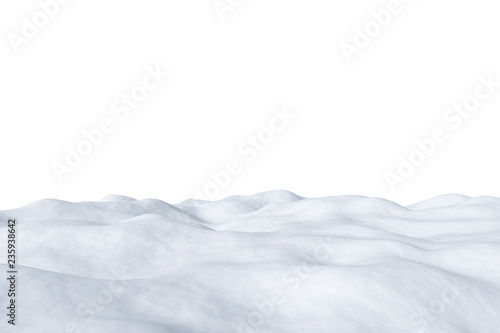 Poster Blanc White snowy field isolated on white background.