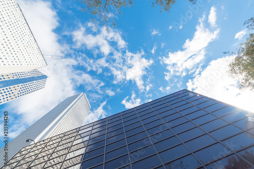 Fototapeta Look up, low angle view of Chicago skylines and green trees from central business district under cloud blue sky obraz na płótnie