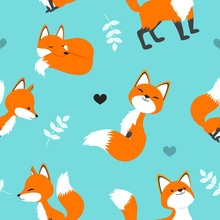 Cute Red Fox Seamless Pattern Vector Illustration. Cartoon Fox On Turquoise Color Background.