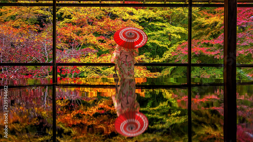 Poster Asia land Colorful autumn Japanese garden of Rurikoin temple in Kyoto