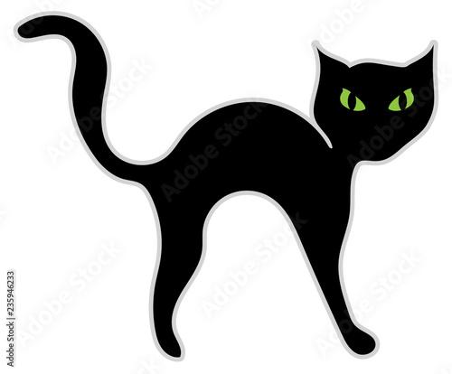 Fotografie, Obraz Illustrazione di un gatto nero con occhi minacciosi