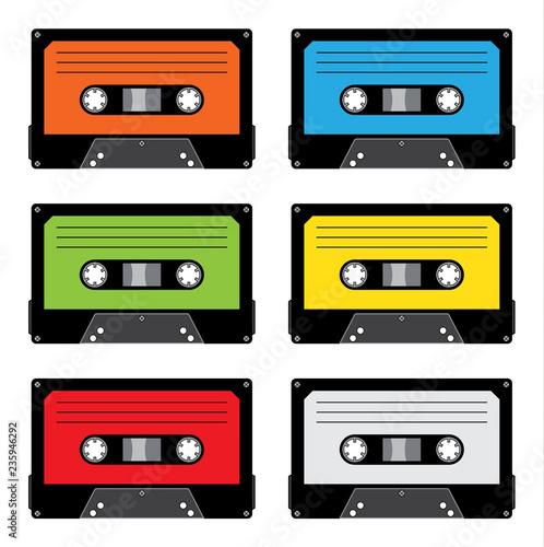 Fotografie, Obraz  Set di audiocassette colorate