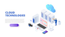 Cloud Technologies Design Concept With People. Isometric Vector Illustration. Landing Page Template For Web.