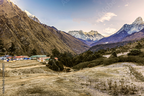 Foto op Canvas Asia land Panoramic view of Mt. Everest, Lhotse, Nuptse and Ama Dablam from Tengboche, Nepal