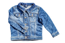 Jeans Fashion. Jeans Jacket With Folded Right Arm Isolated On A White Background. Fashionable Jacket For Child Boy. Top View Front.