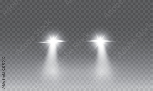 Obraz Car head lights shining from darkness background.Vector silhouette of car with headlights on black background. Easy light flash .Vector illustration. - fototapety do salonu