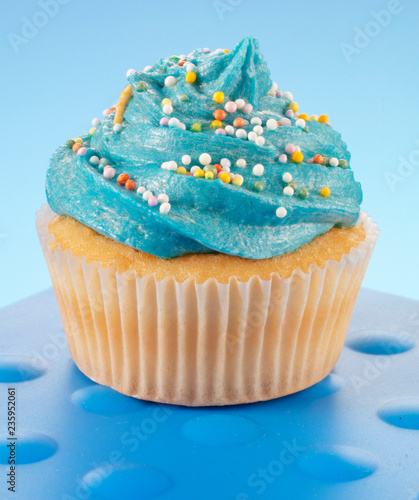 Photo  BLUE CUPCAKE ON BLUE