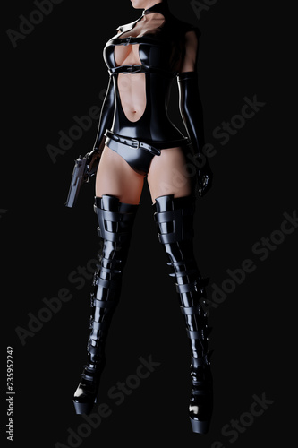 Photo  Sexy female assassin in glossy latex dress and panties and high heels