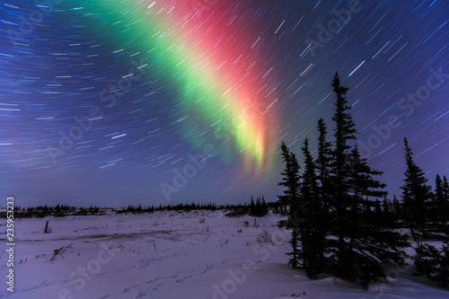 Photo  Northern Lights And Star Trails