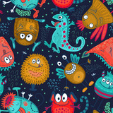 Fototapeta Dinusie - Colorful vector seamless pattern with funny monsters