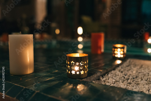 Light up candle holder in morocco - Buy this stock photo and