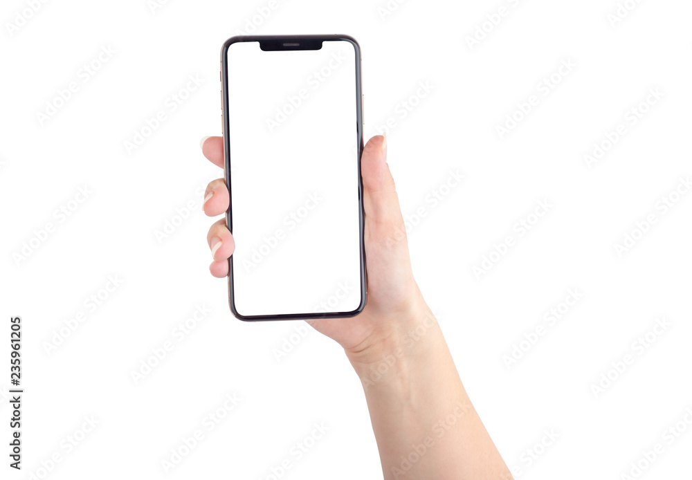 Fototapeta Smartphone with a blank white screen. New popular smartphone in hand on white background.