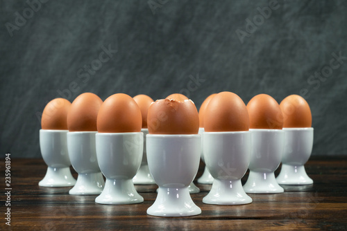 Boiled Eggs in Egg Cups on a Table
