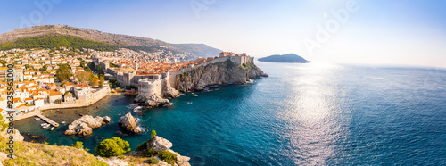 Poster Mediterranean Europe View from Fort Lovrijenac to Dubrovnik Old town in Croatia at sunset light