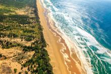 Indian Ocean Background. Scenic Flight Of East Coast Of South Africa In Sodwana Bay National Park Within The ISimangaliso Wetland Park, Maputaland, KwaZulu-Natal Area.