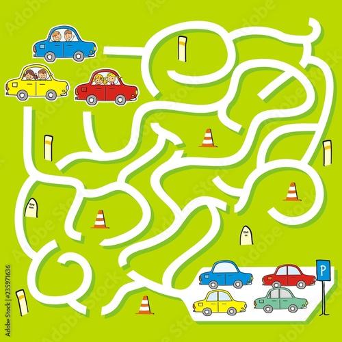 Foto auf AluDibond Auf der Straße Happy kids at cars, game for children, labyrinth, vector illustration