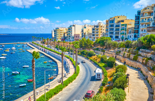 Fototapeta Bugibba city is one of the most favourite resorts in Malta, that offer magnificent views, comfortable accommodation and cozy places for leisure walks obraz