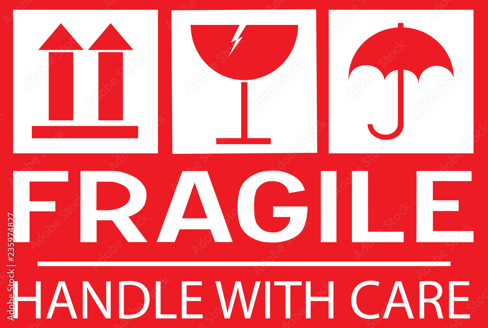 Fototapeta Stcker: fragile - hadle with care - this way up