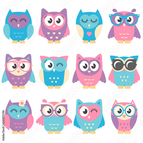 Canvas Prints Icons of cute colorful owls isolated on white