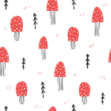 Seamless Pattern With Amanita And Forest Tree. Funny Kids Print. Vector Hand Drawn Illustration.