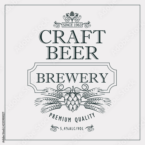 Fototapety, obrazy: illustration of label for craft beer in retro style