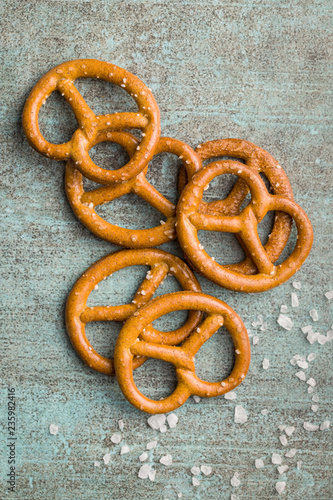 Salted mini pretzels snack.