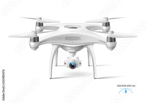 Papel de parede Vector realistic quad copter air drone with camera