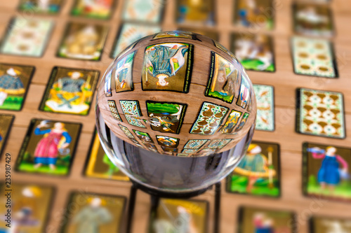 Fortune teller Crystal ball and in transparency tarot cards background Canvas Print
