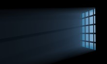 Night Scene Of Volume Moon Light Seen Through The Lattice Window From Dark Room. 3D Illustration
