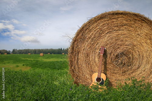 Obraz na plátne  Close up of an acoustic guitar in a wheat field