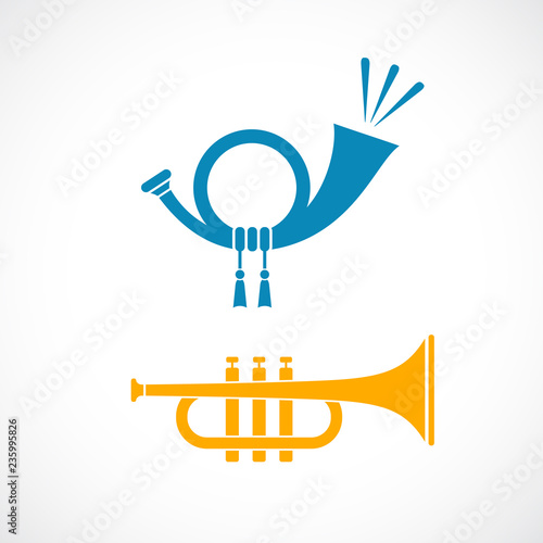 Canvas Print Horn and trumpet vector icon