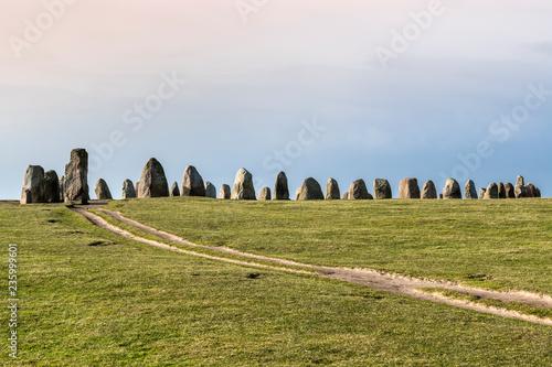 Fotografie, Obraz  Ales stones, imposing megalithic monument in Skane, Sweden