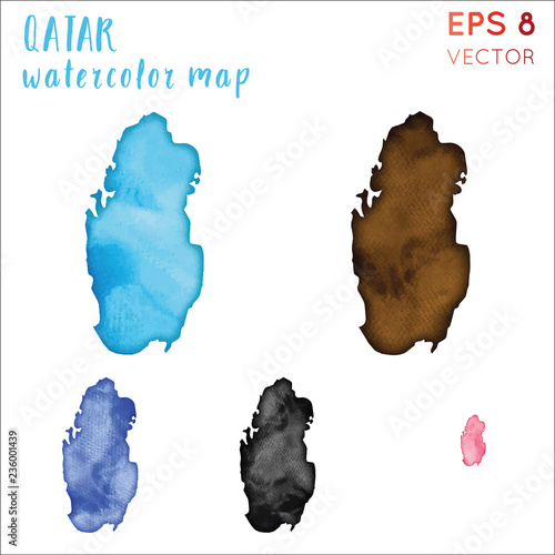 Qatar watercolor country map. Handpainted watercolor Qatar ...