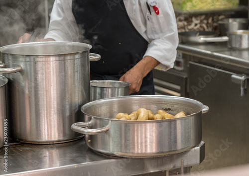 Fotografija Modern stainless steel hobs in commercial kitchen