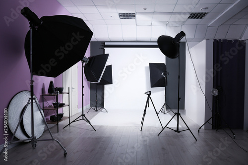 Fototapeta Interior of modern photo studio with professional equipment obraz na płótnie