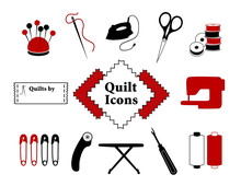 Quilt, Patchwork, Sewing, DIY Icons, Needle, Thread, Iron, Scissors, Bobbins, Sewing Label, Fabric, Sewing Machine, Safety Pins, Rotary Cutter, Ironing Board, Seam Ripper, Bobbins.