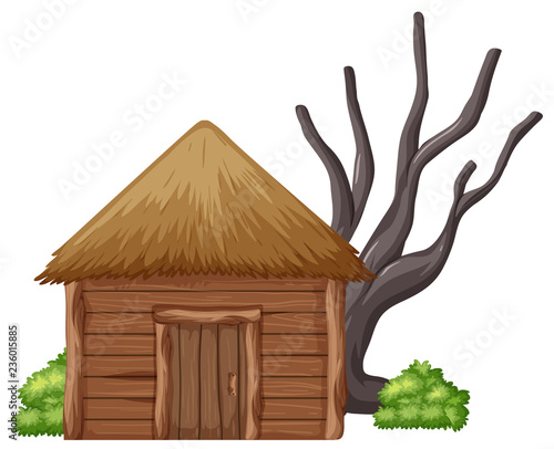 Fototapeta Isolated wooden hut on white background