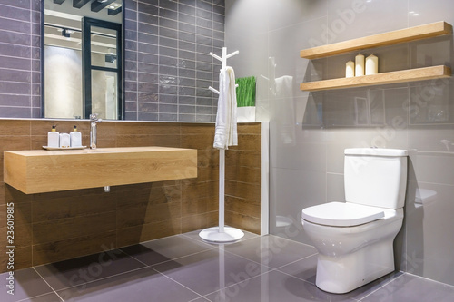 Fotografie, Obraz  Luxury bathroom interior with toilet bowl, mirror and modern basin cabinet for h