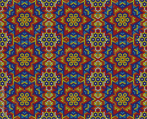 Fotografia, Obraz abstract seamless pattern of mexican huichol art style