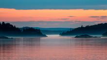 Calm Misty Sunset Over Lake Superior