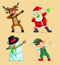 Dabbing Christmas Characters Vector Set