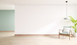 Leinwanddruck Bild - minimal  interior of living room, wood armchairs with plant on wood flooring,3d rendering ,3d rendering