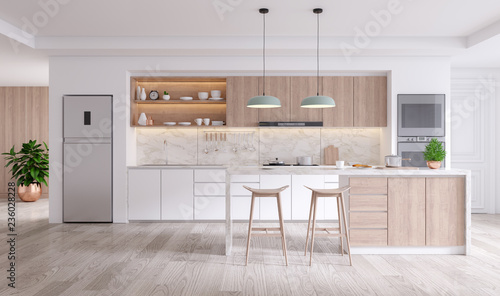 elegant contemporary kitchen room interior .3drender Poster Mural XXL