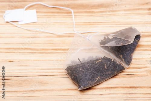 Organic whole leaf earl grey tea in pyramid pouches on