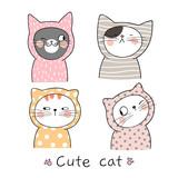 Fototapeta Fototapety na ścianę do pokoju dziecięcego - Draw cat Pastel color Doodle cartoon style.