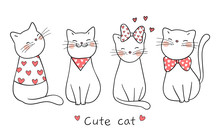 Draw Cat With Little Heart For Valentine Day.