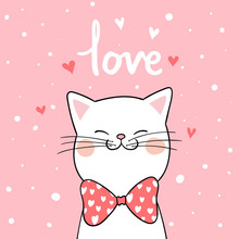 Draw White Cat With Pink Background For Valentine Day.