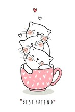 Draw Adorable Cat Sleep In Cup Of Tea Pink Pastel Color.