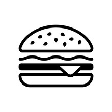 Hamburger Icon. Fast Food. Linear Outline Symbol. Black Icon On